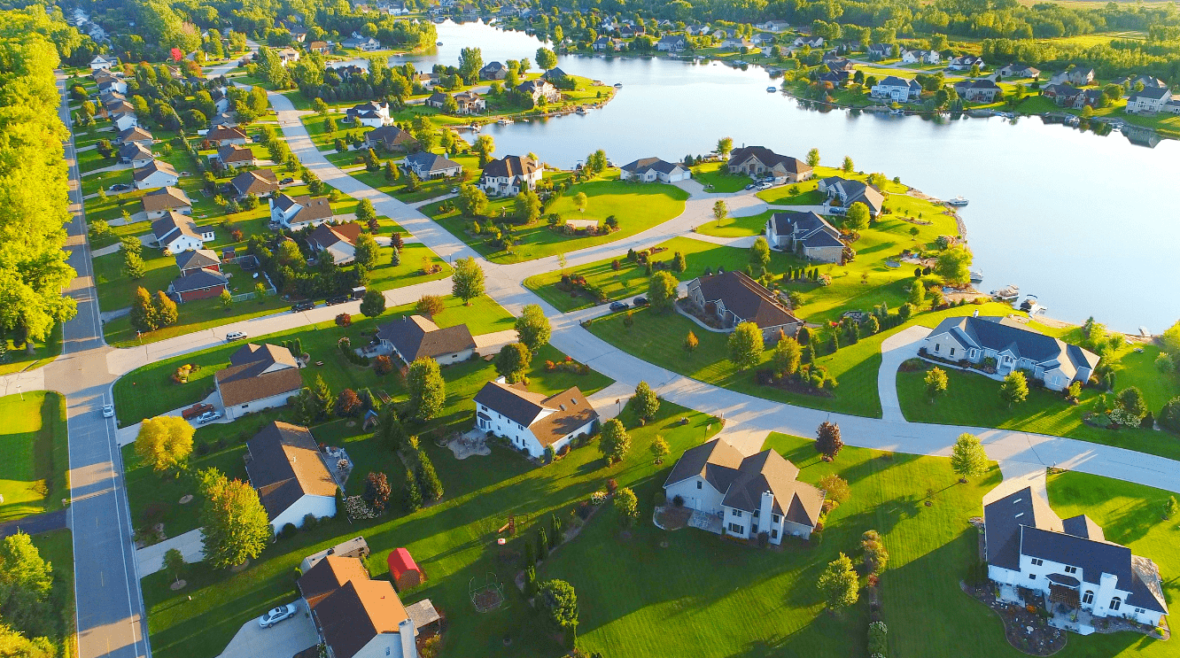 Neighborhood near a lake